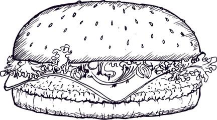 burger, sketch