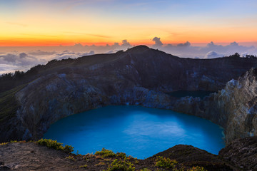 Sunset at the Kelimutu volcano crater on Flores island Indonesia