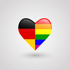 Heart made of german and rainbow flag as gay rights concept