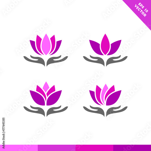 Hand Holding Lotus Flower Colorful Icon Set Stock Image And