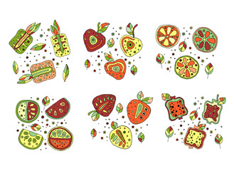 Set of vector hand drawn childish fruits. Cute childlike pineapple, cherry, berry, strawberry, pomegranate, watermelon, lime, lemon, orange with leaves, seeds, drops. Doodle, sketch, cartoon style.