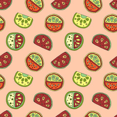 Seamless vector hand drawn childish pattern with fruits. Cute childlike watermelon with leaves, seeds, drops. Doodle, sketch, cartoon style background. Line drawing Endless repeat swatch