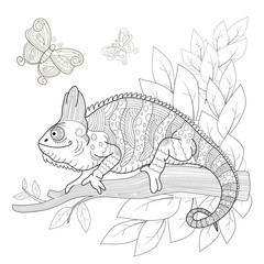 Hand drawn decorative chameleon is sitting on a tree branch.