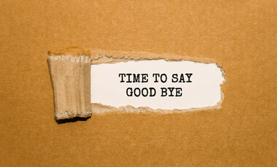 The text TIME TO SAY GOOD BYE appearing behind torn brown paper