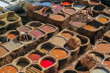 Morocco Fez leather tanneries
