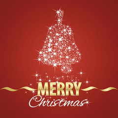 Christmas bell symbol stardust red background