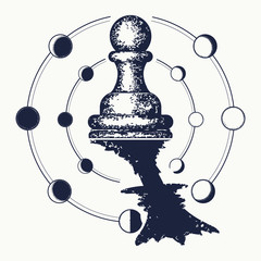 Chess tattoo. Pawn dreams to become queen. Symbol of motivation, career, leadership, tactics and strategy, surreal art. Ambitions concept. Pawn and queen tattoo