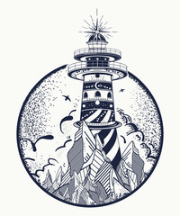 Lighthouse tattoo and t-shirt design. Beacon on the rock. Symbol of meditation, hiking, adventures graphic style. Lighthouse in the storm sea tattoo