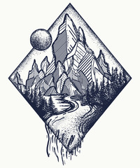 Mountain and river tattoo and t-shirt design. Meditation symbols, travel, tourism Outdoors concept. Mountains tattoo, t-shirt design, surreal graphics