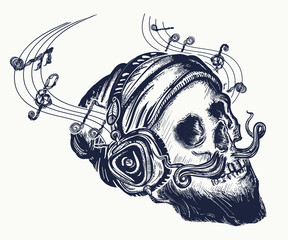 Human skull tattoo and t-shirt design. Skull of the bearded hipster. Skull in earphone listens to music. Skull with beard, mustache, hipster hat and headphones tattoo