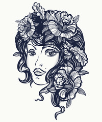 Autumn nature woman old school tattoo. Art nouveau fall woman t-shirt design. Symbol of queen, princess, lady, elegance, glamour, renaissance girl. Beautiful vintage art nouveau woman tattoo