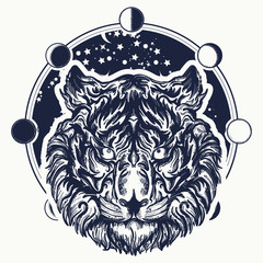 Tiger tattoo. Tiger portrait against background of  universe. Symbol of wisdom, force, soul. Magic tribal tiger tattoo and t-shirt design