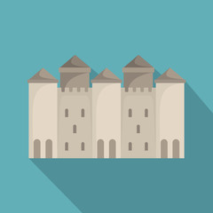 Old castle icon, flat style