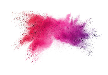 Explosion of colored powder isolated on white background.