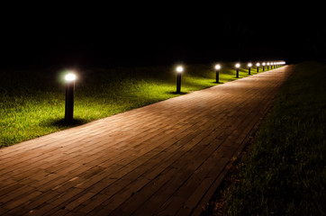 Night landscape of the park. The path is covered with beige tiles and is lit by flashlights. Around the path there is a lawn with green grass.