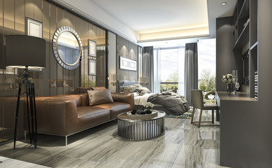 3d rendering luxury design living room and bedroom in modern building