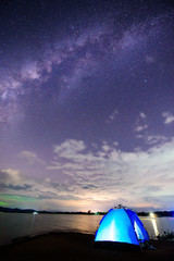 camping with milky way on the sky