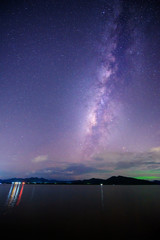 lake view with milky way on the sky