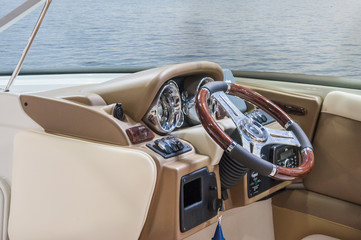 Cockpit of yacht from wood and leather