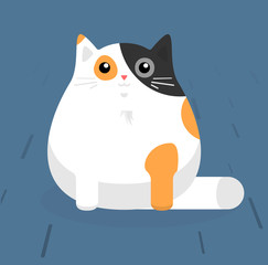 Cute sitting cat. White cat with stains. Flat vector illustration