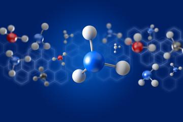 3d rendering molecule on a color background