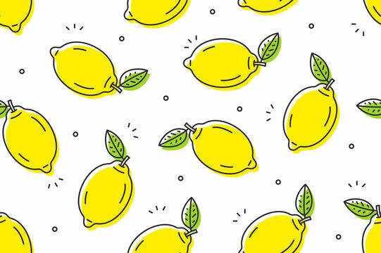Lemons seamless pattern. Vector illustration