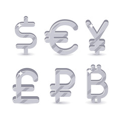 Silver signs world currencies. Set of six icons dollar, euro, yuan, pound, ruble and bitcoin isolated on white background. Global money symbol. Vector illustration