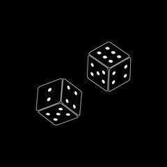 Dices icon flat. Illustration isolated vector sign symbol