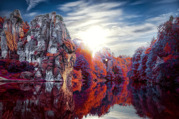 Rot Blau Berg