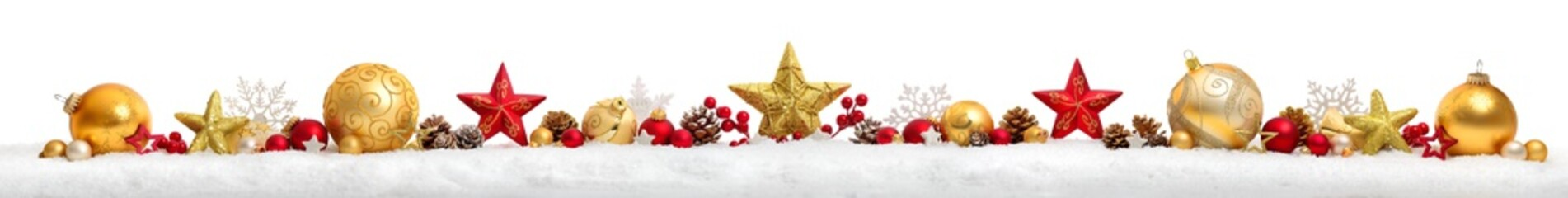 Christmas border or banner with stars and baubles, white background
