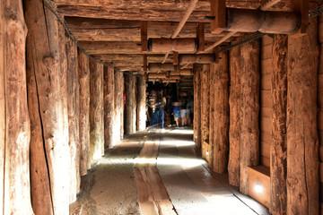 Kopalnia solna Wieliczka salt mine, horizontal tunnel adit in mines, Krakow, Poland