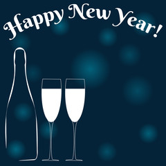 Happy New Year! Champagne, glasses and space for your text. Vector