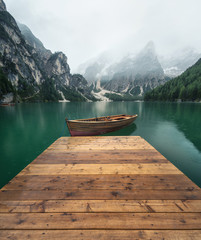 Lake in the mountain valley in the Italy. Beautiful natural landscape in the Italy mountains.
