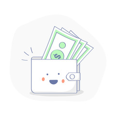 Profit or Money Income icon concept. Happy wallet with Cash, Earnings. Cute premium quality vector illustration for Website Element, Mobile websites, Apps. Cartoon concept,