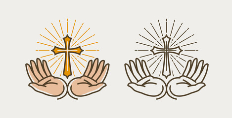Hands and cross, crucifixion. God, bible, religion, faith, church, pray symbol or icon. Vector illustration