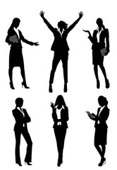 Six silhouettes businesswomen