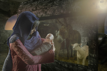 3D Illustration of Mary with baby Jesus