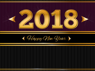 Happy New Year 2018  Gold and Black greeting card