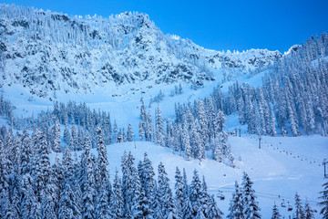 Snow Mountain Sking Chairlifts at Snoqualme Pass Washington