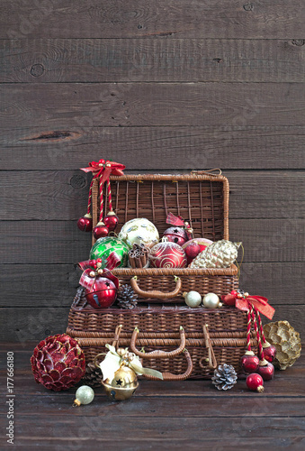 Christmas composition. Christmas decorations in wicker baskets on a ...