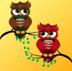 2 red cute flirtatious owls on branches, with a cup of steaming coffee, tea or chocolate