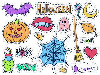 Halloween patch badges set holiday doodles colorful 1