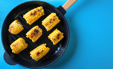 Hot baked corn in a frying pan