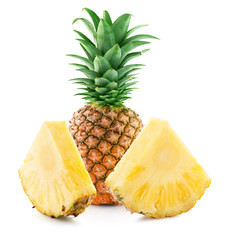pineapple with slices isolated on a white background