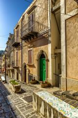Lipari old town narrow street, Lipari island, Sicily, Italy
