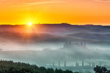 Canvas Prints Honey Beautiful Tuscany landscape at sunrise, Italy