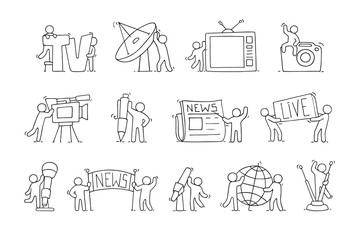 Journalist icons set of working little people