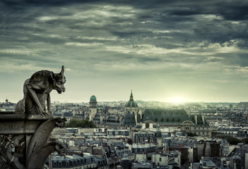 Fototapete - Paris skyline at sunset, France