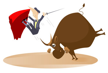 Bullfighter and the rage bull isolated. Bull raised the bullfighter by horns illustration