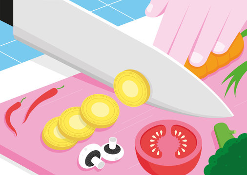 Illustration of cutting board with food and money